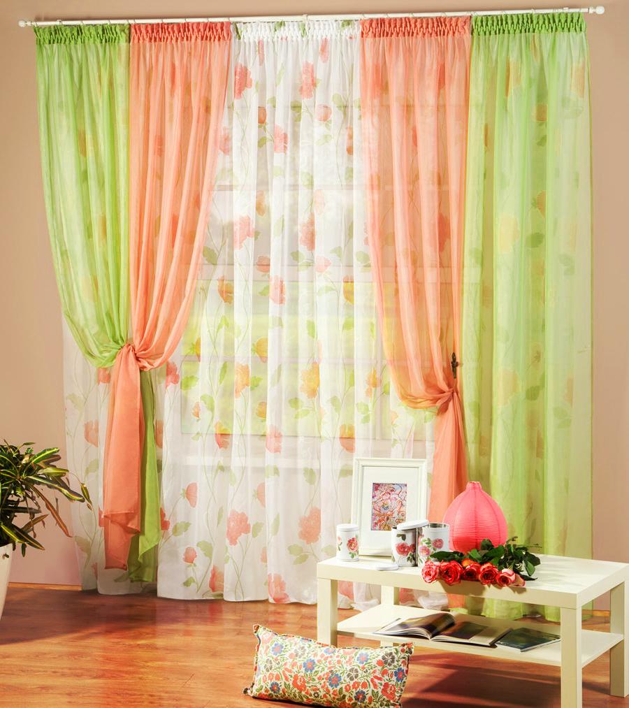 Персиковые комбинированные шторы