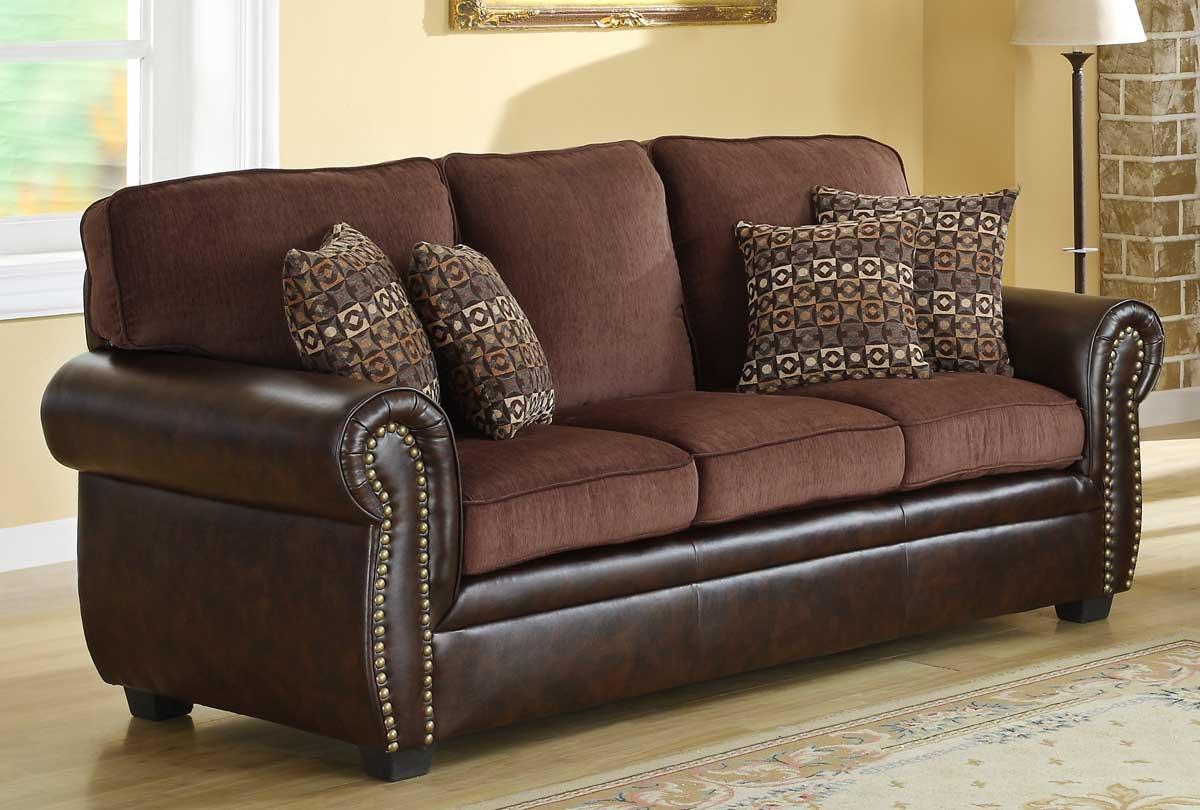 Коричневый комбинированный диван