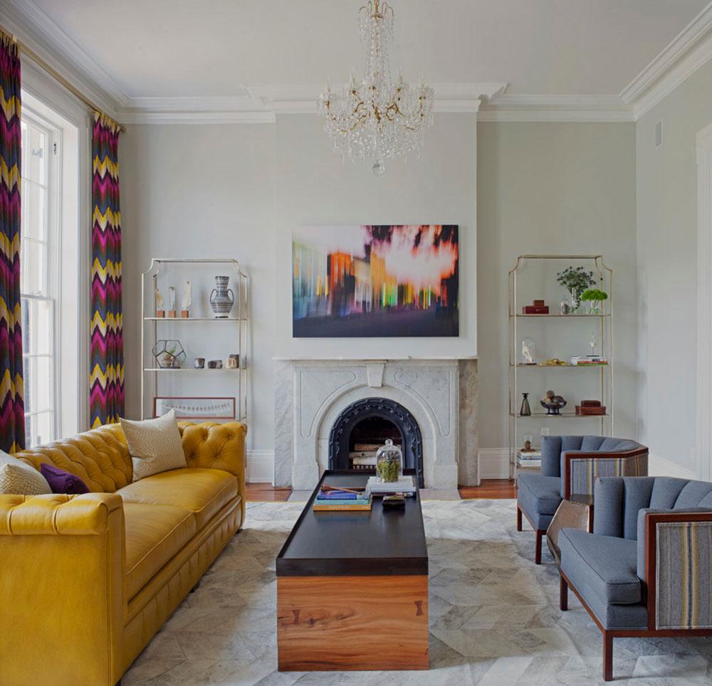 Желтый кожаный диван