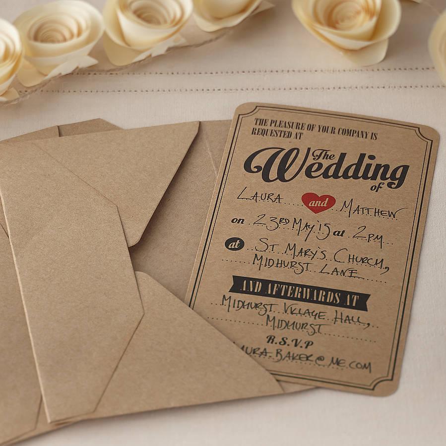 Приглашение на свадьбу на крафтовой бумаге