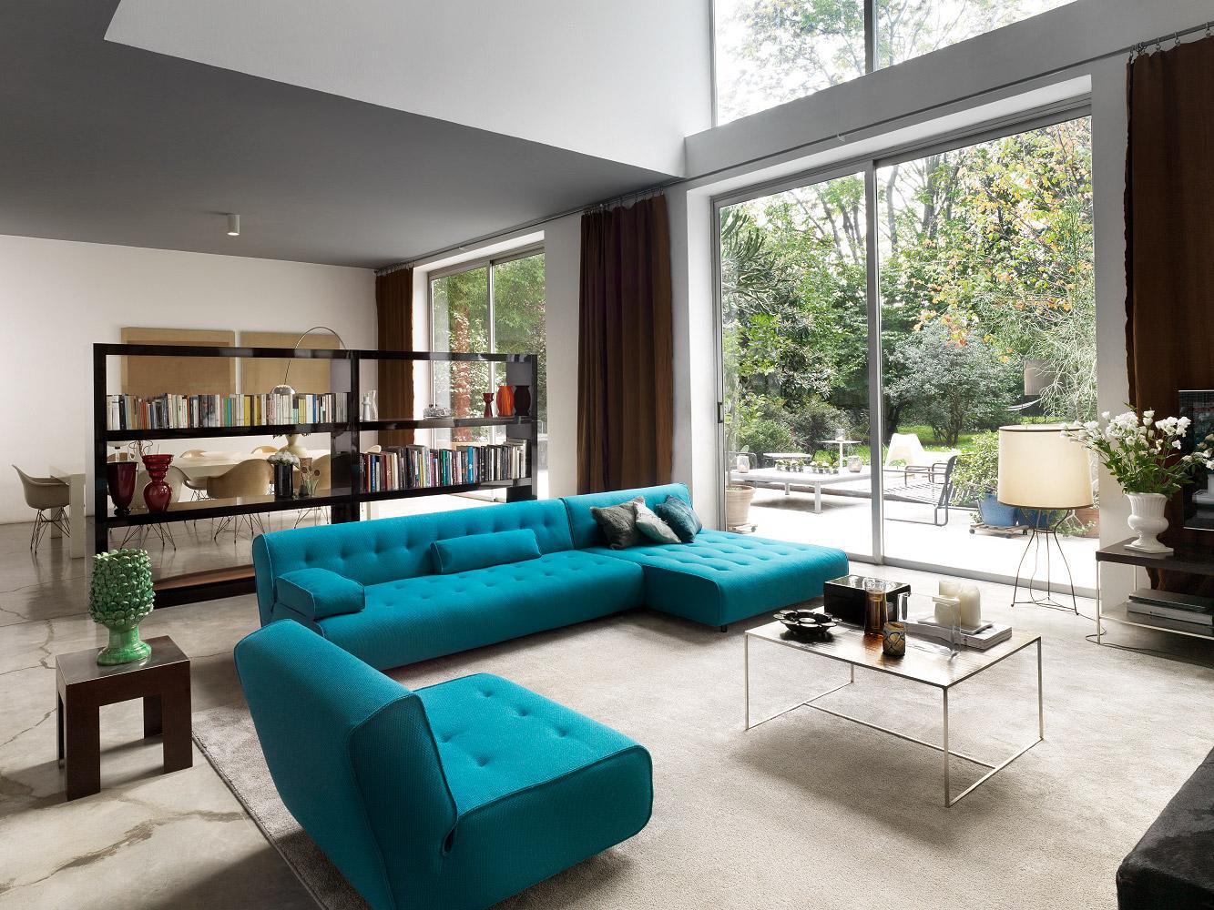 Бирюзовый диван с креслом