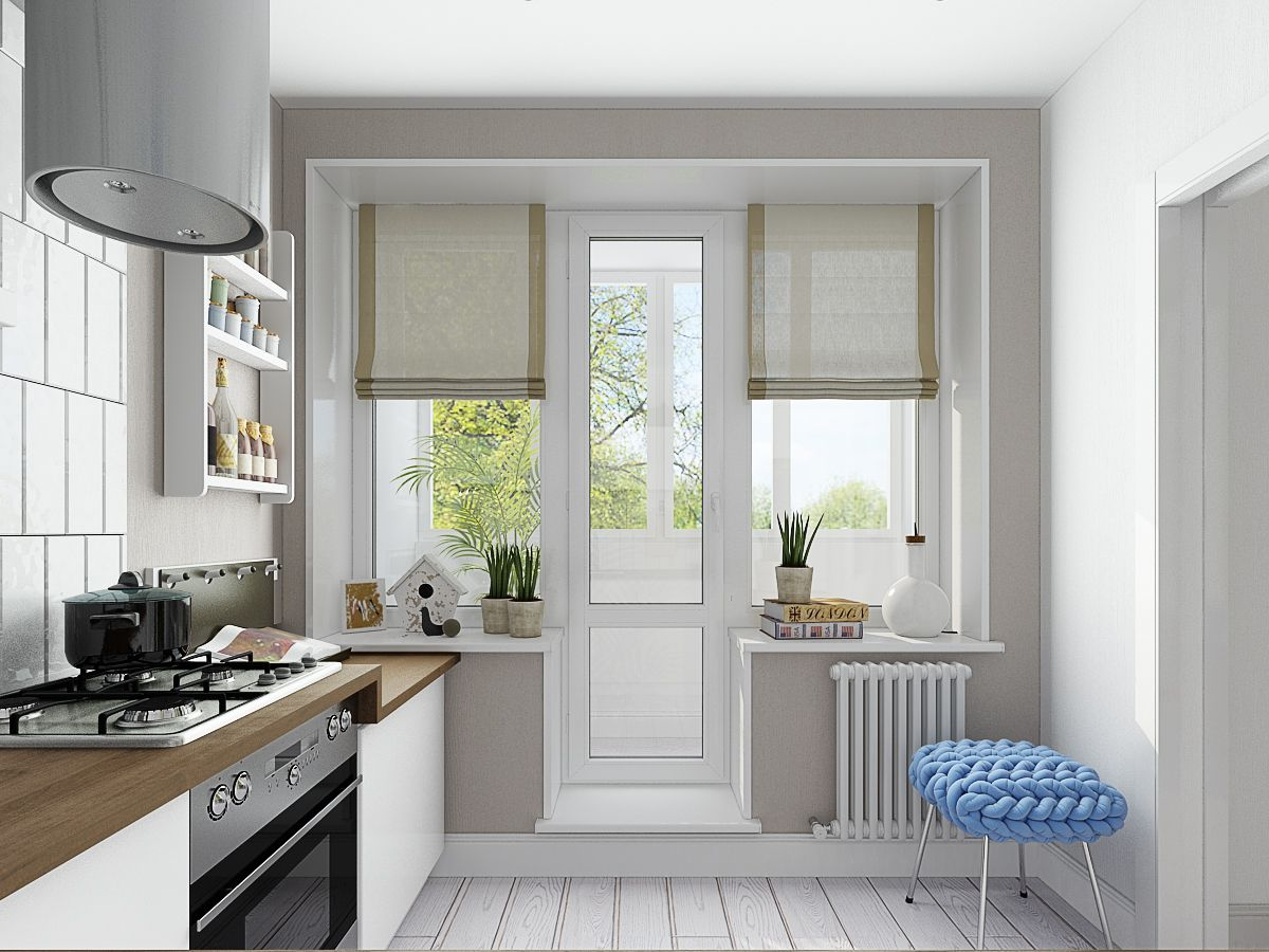 Дизайн кухонной балконной двери