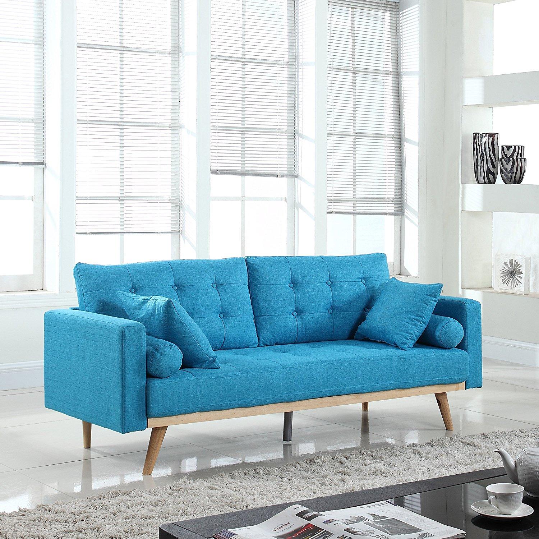 Голубой диван лаконичного дизайна