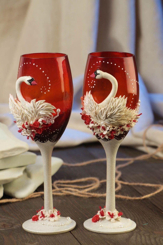 Свадебные бокалы с лебедями