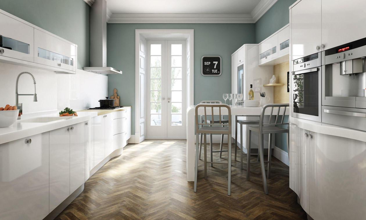 Белая глянцевая кухня в стиле лофт