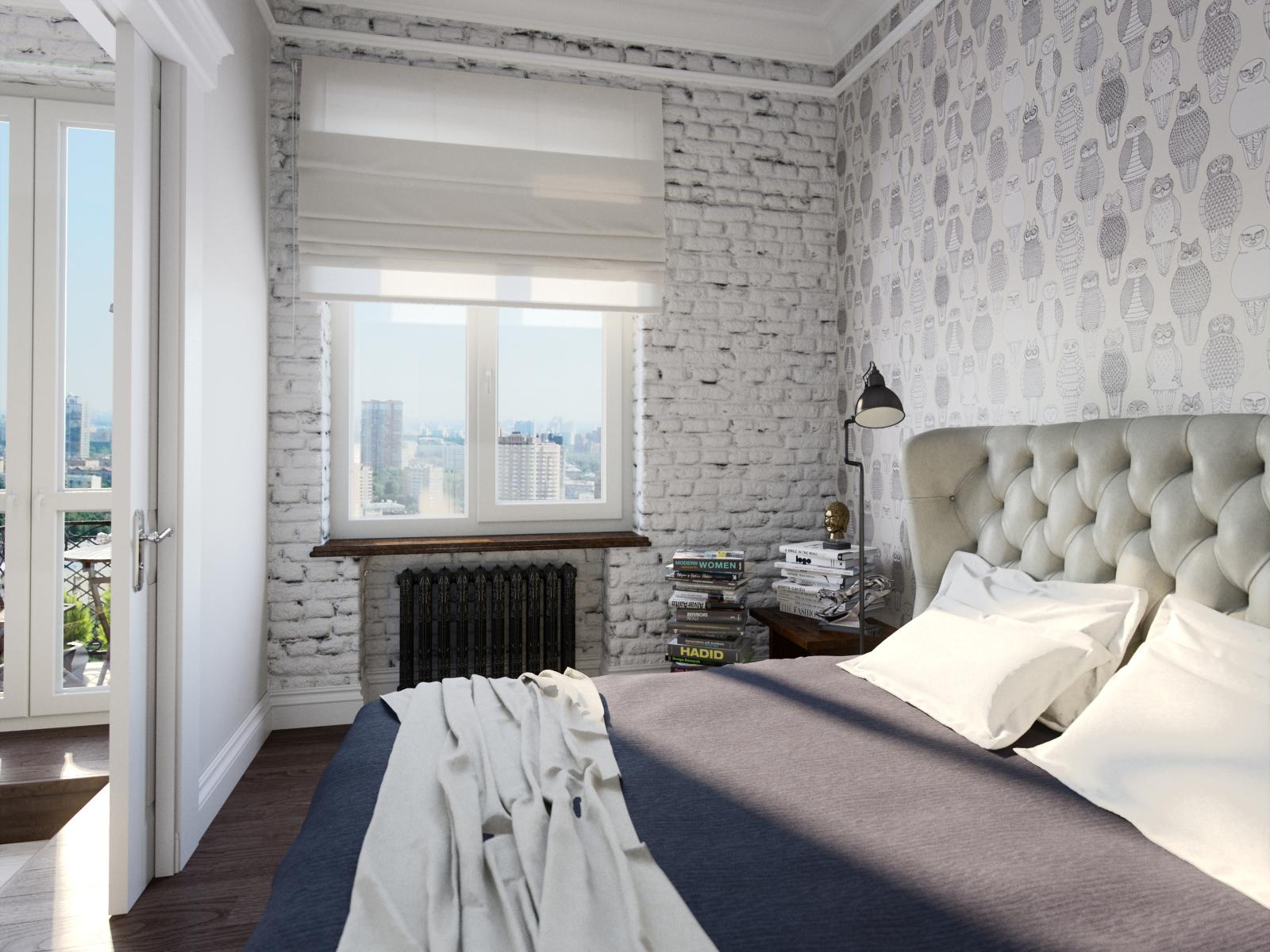 Стена в стиле лофт в спальне