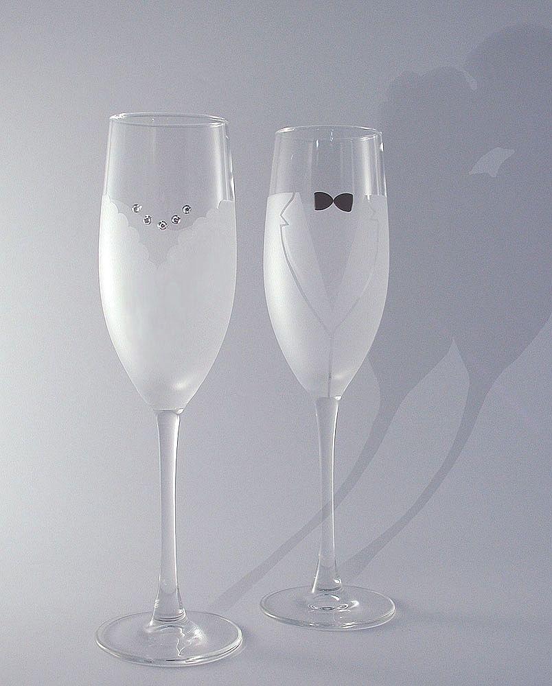 Свадебные бокалы с матовым стеклом