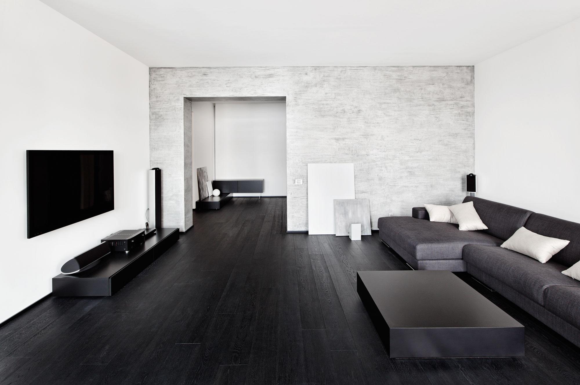 Черный ламинат в стиле минимализм