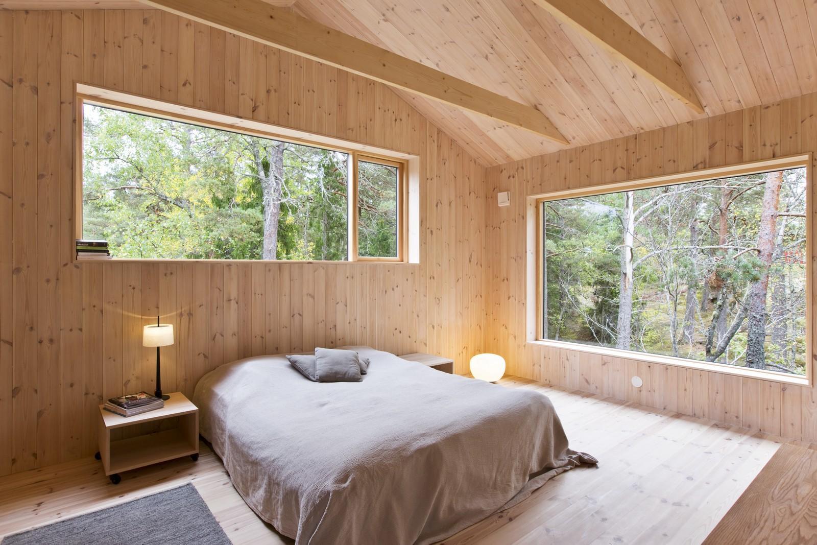 Деревянная спальня в стиле минимализм