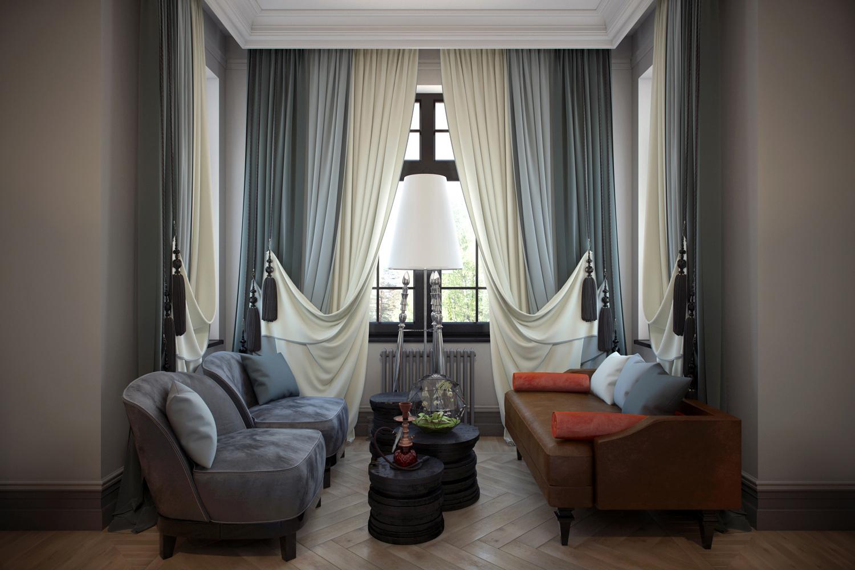 Двойные шторы в стиле модерн