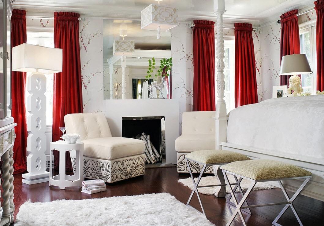 Красные шторы в стиле модерн