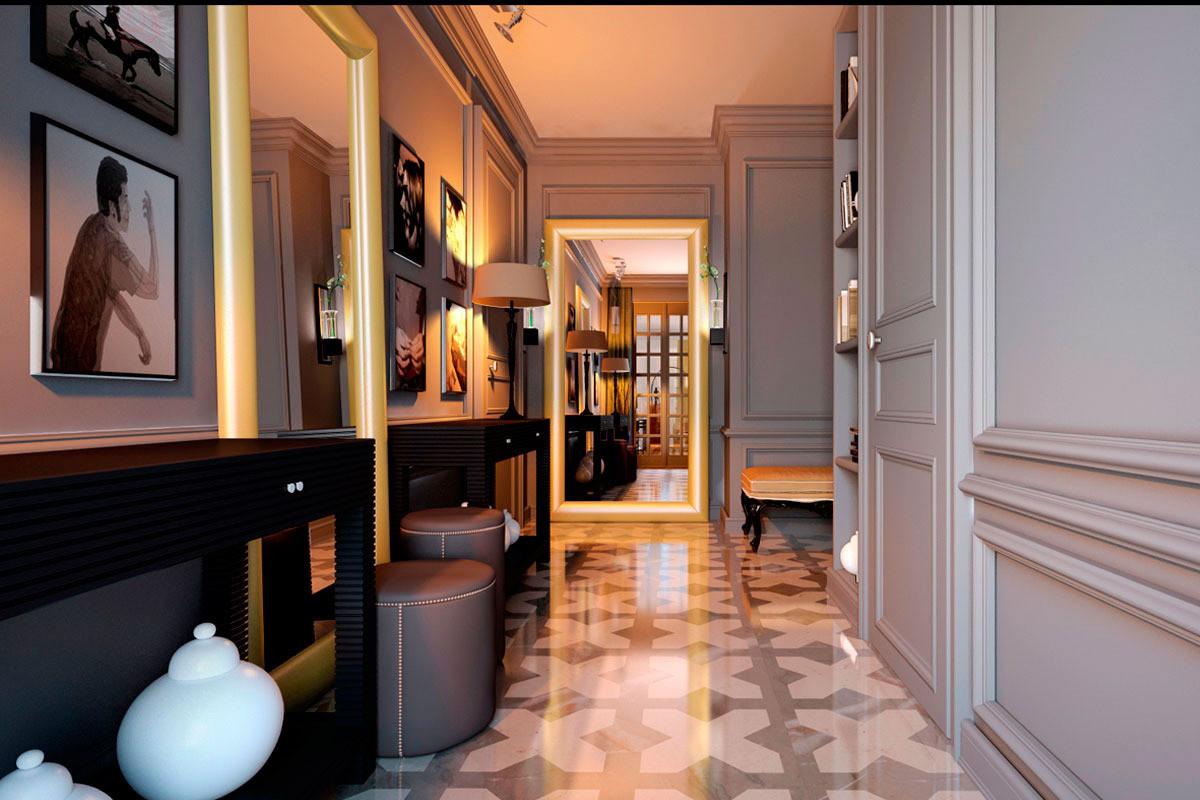 Прихожая в стиле модерн для узкого коридора