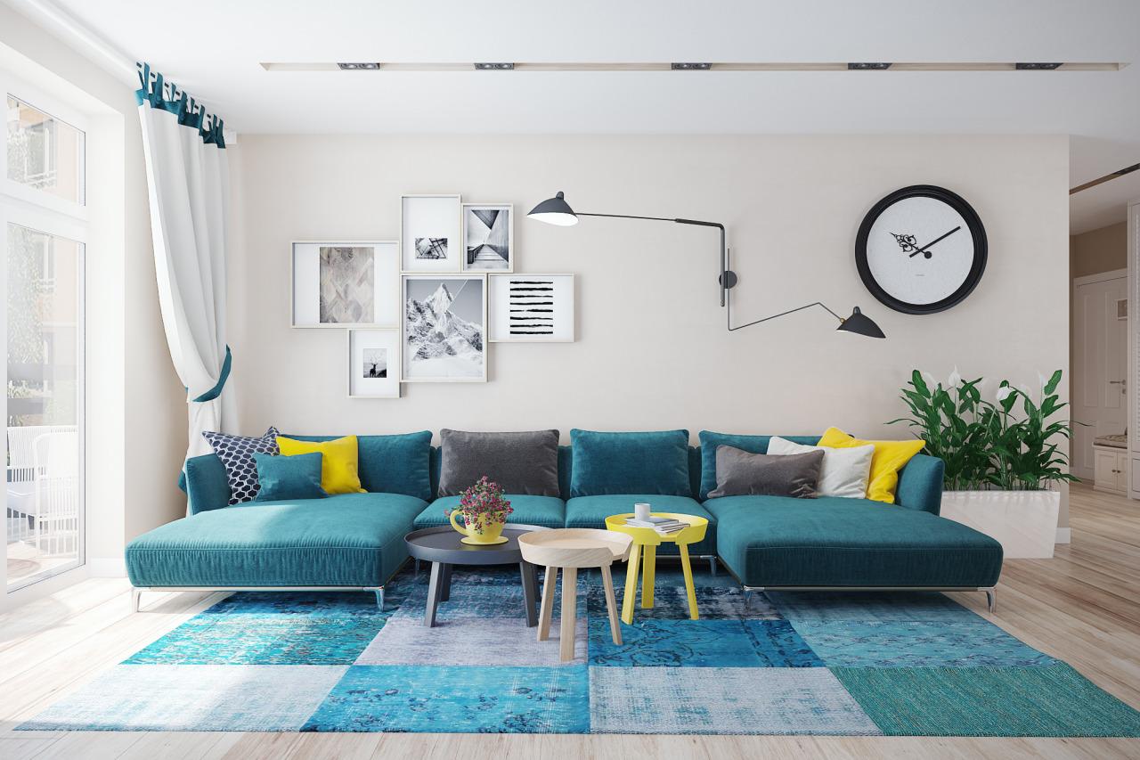 Бирюзовый модульный диван