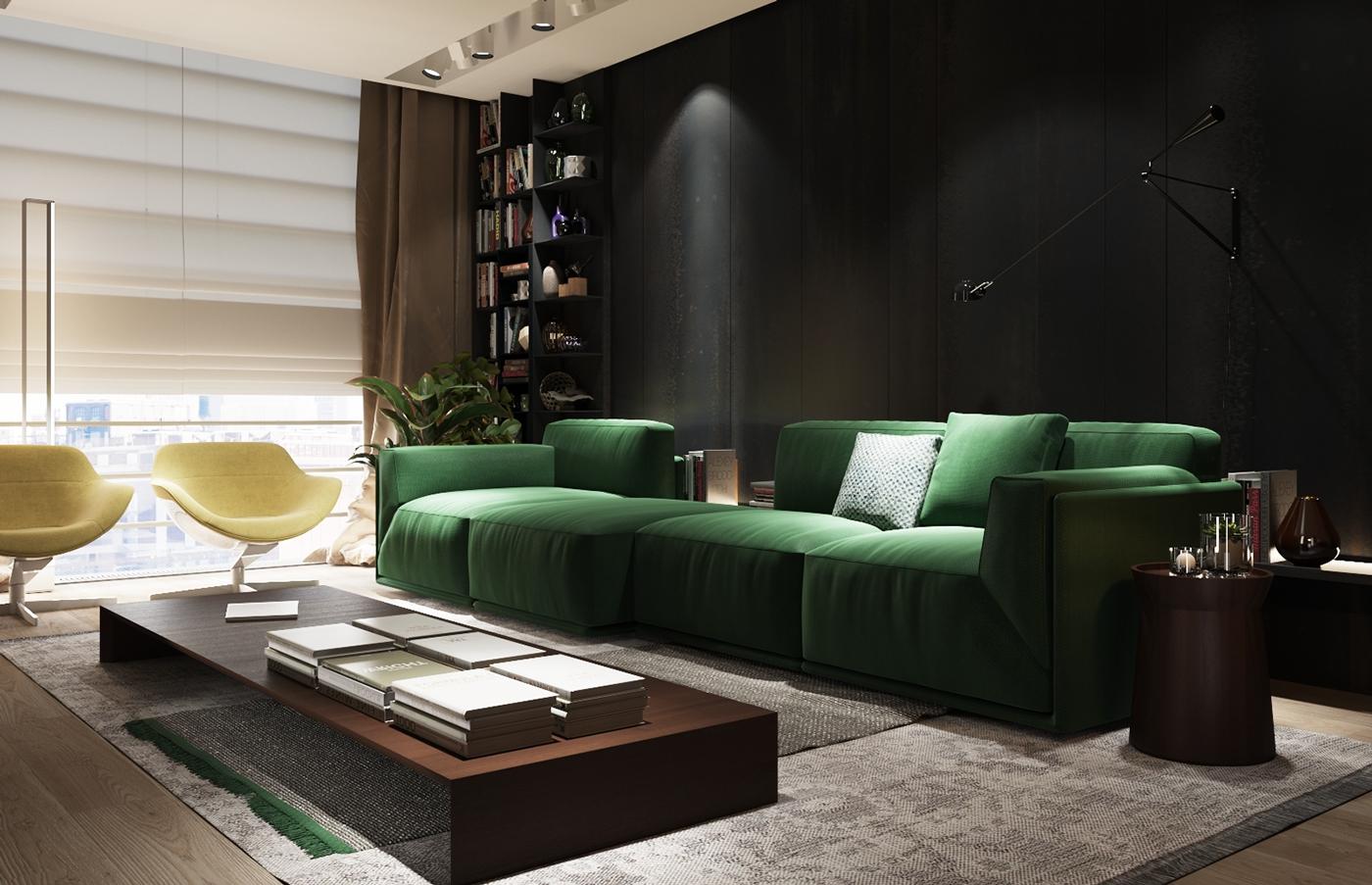 Зеленый модульный диван