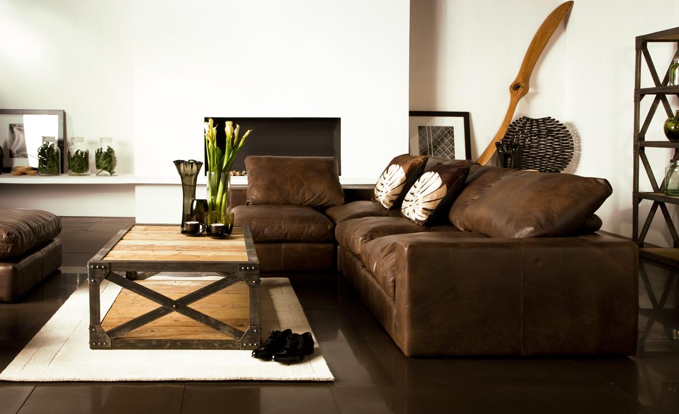 Коричневый модульный диван