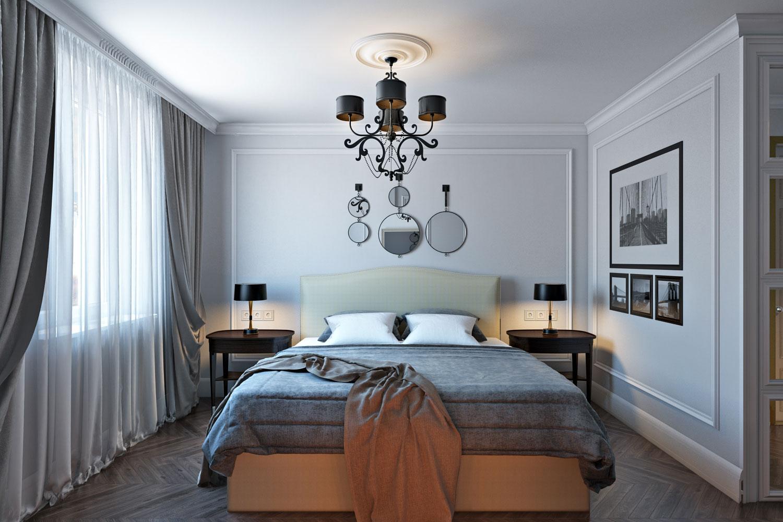 Молдинги на стене в спальне