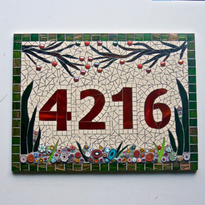 Табличка на дом из мозаики