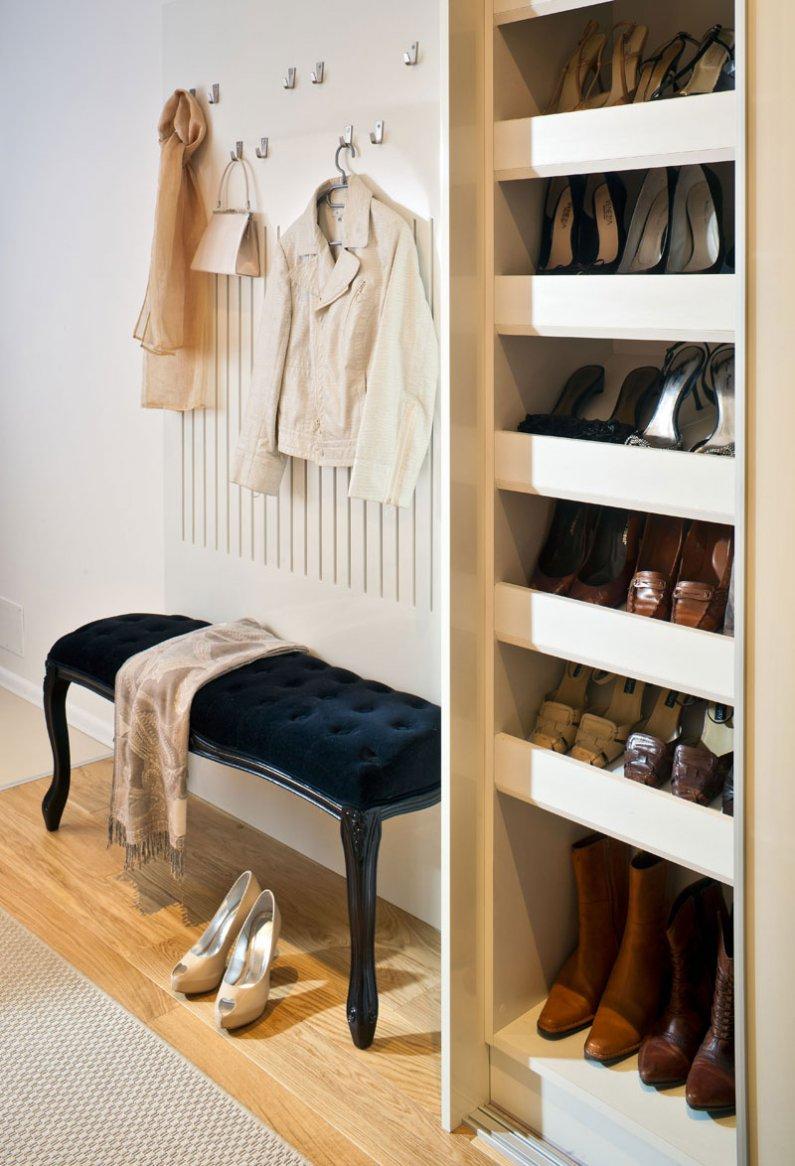 Обувница для узкого коридора