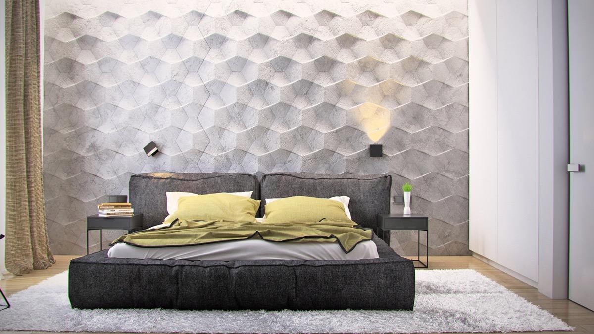 Панели на стене в спальне