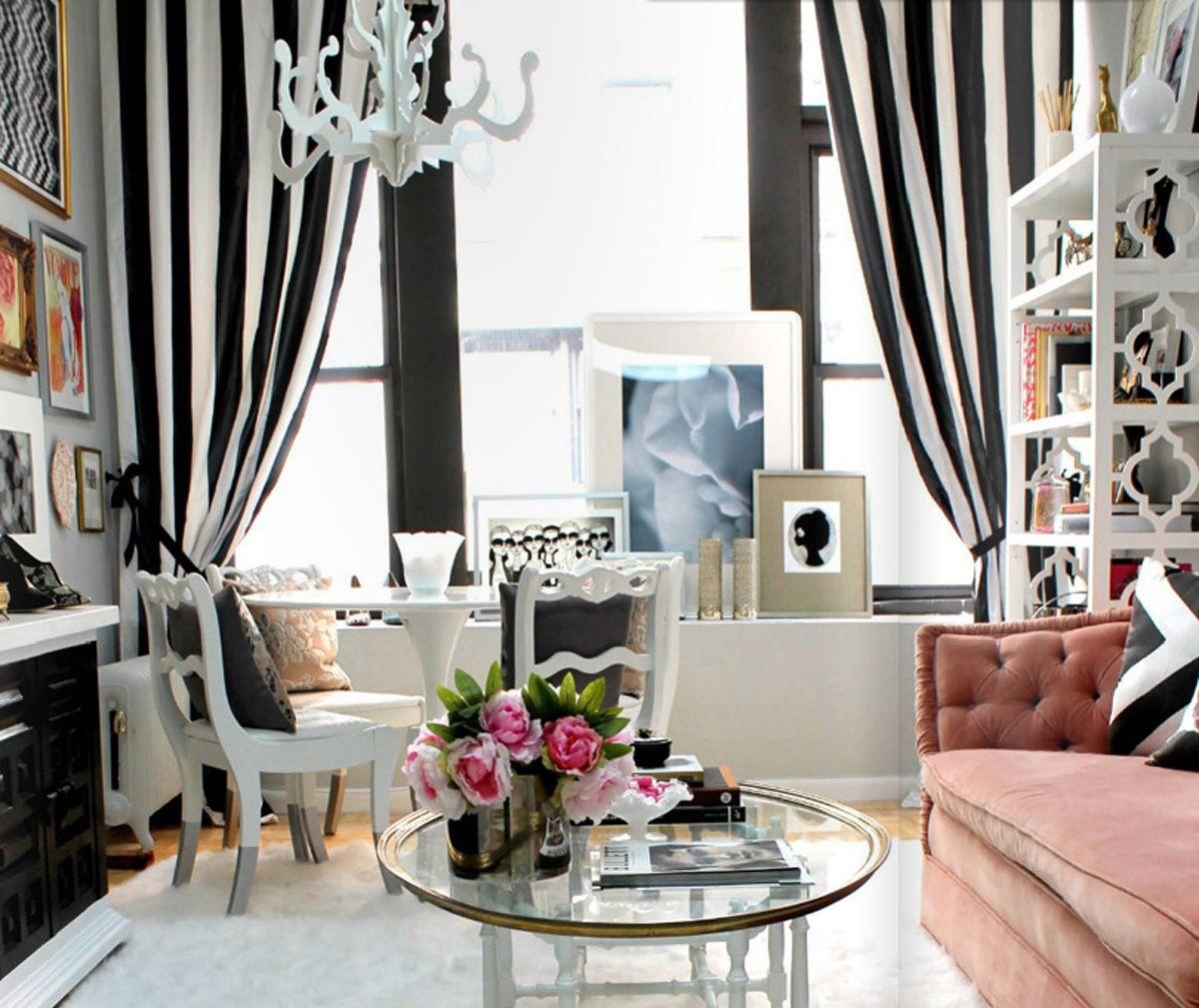 Черно-белые шторы в полоску