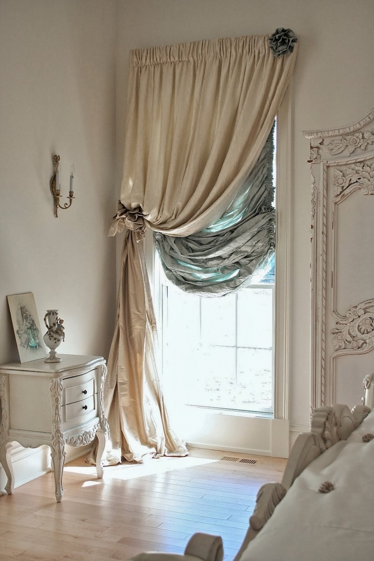 Бежевые шторы в стиле прованс