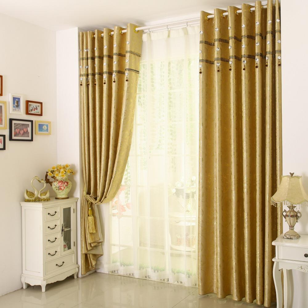 Золотые шторы в стиле прованс