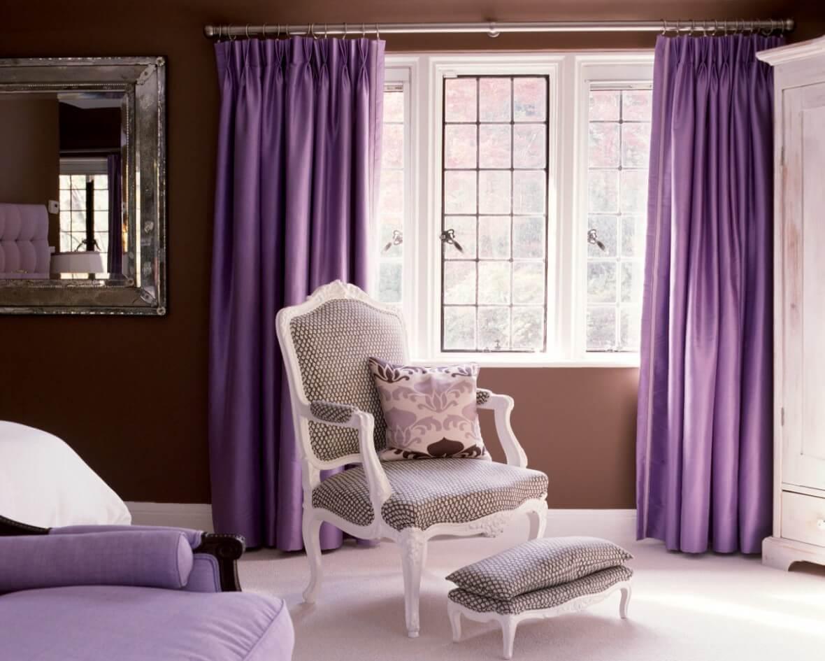Сиреневые шторы в стиле прованс
