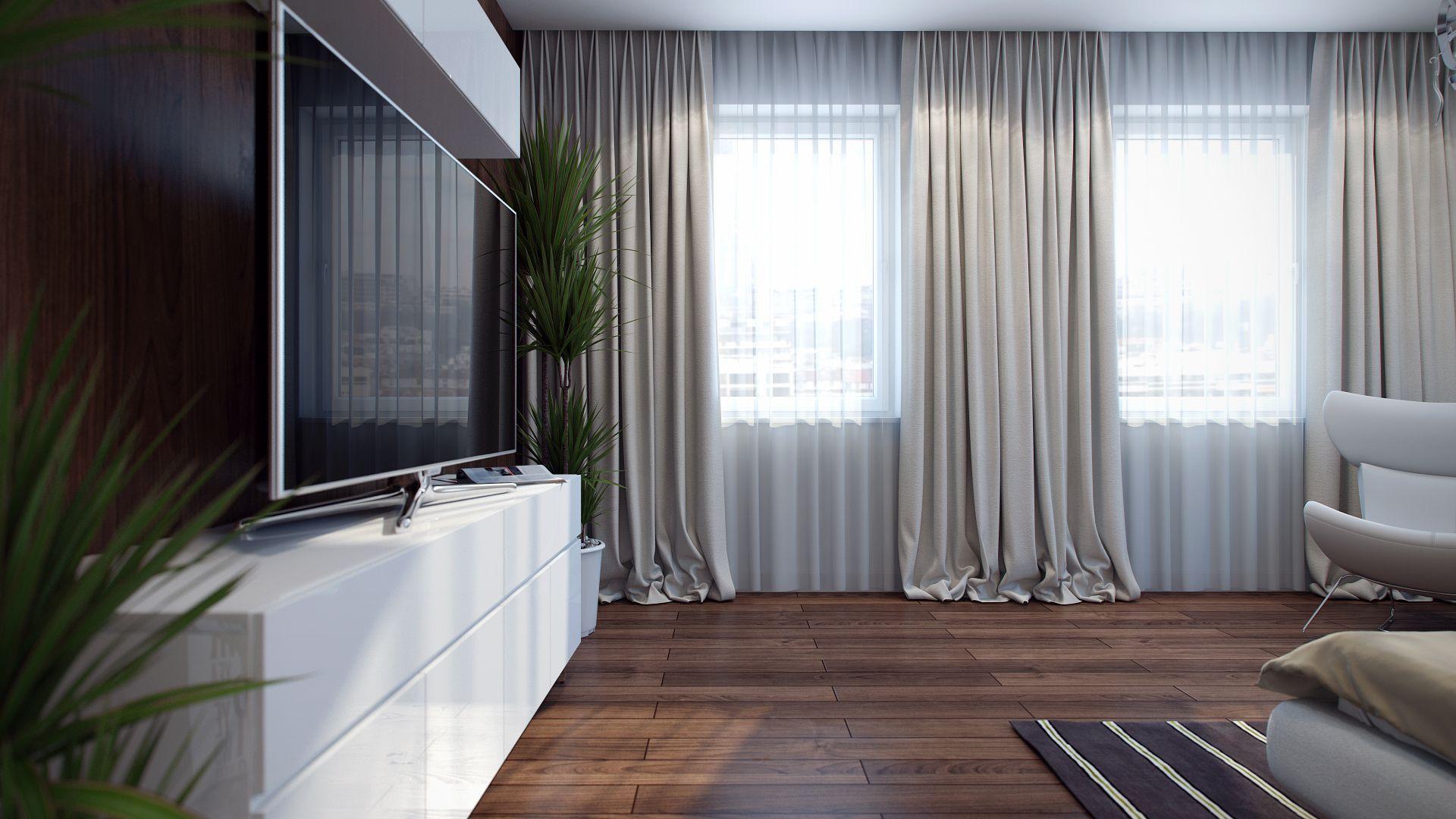 Бежевые прямые шторы