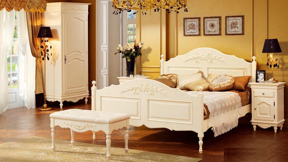 Белая резная мебель для спальни