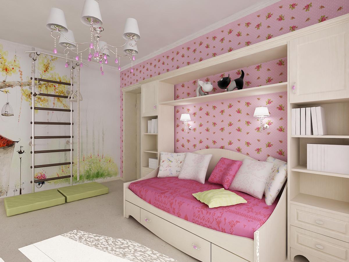 Розовые обои для комнаты девочки