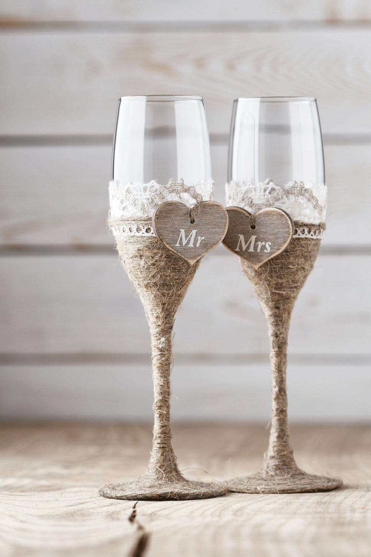 Свадебные бокалы: интересные идеи для оформления (23 фото)