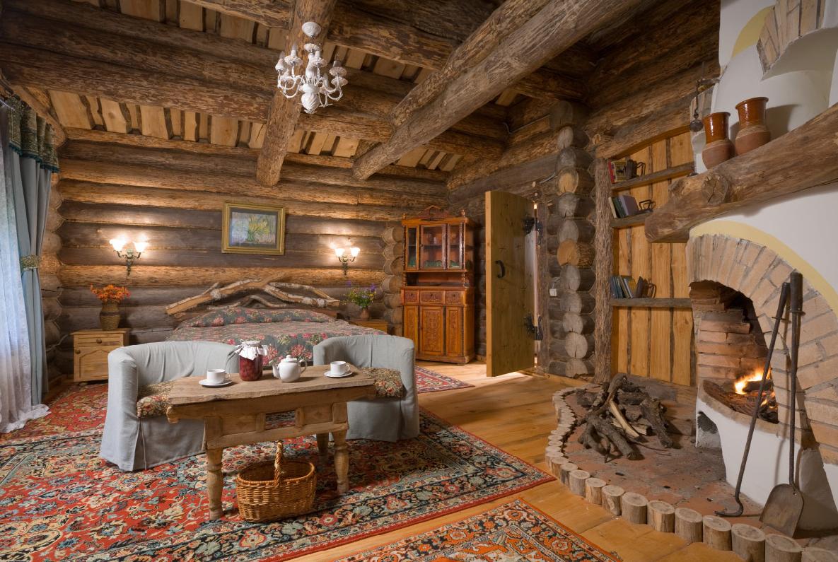 Спальня на даче в рустикальном стиле