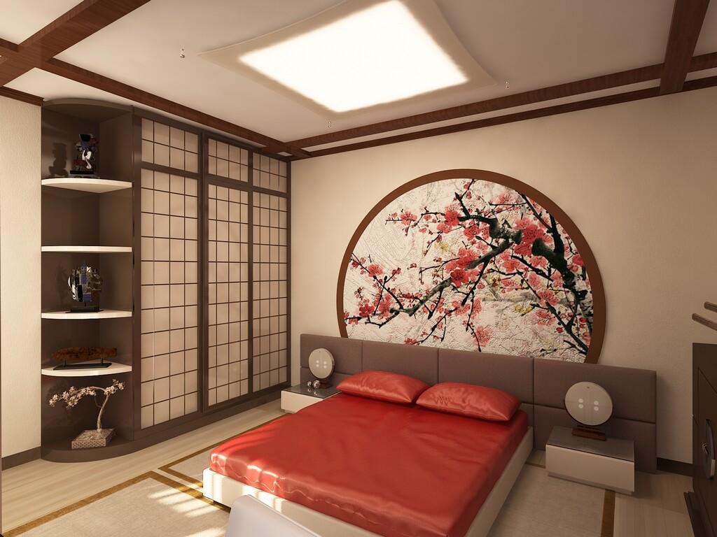 Сакура на стене японской спальни
