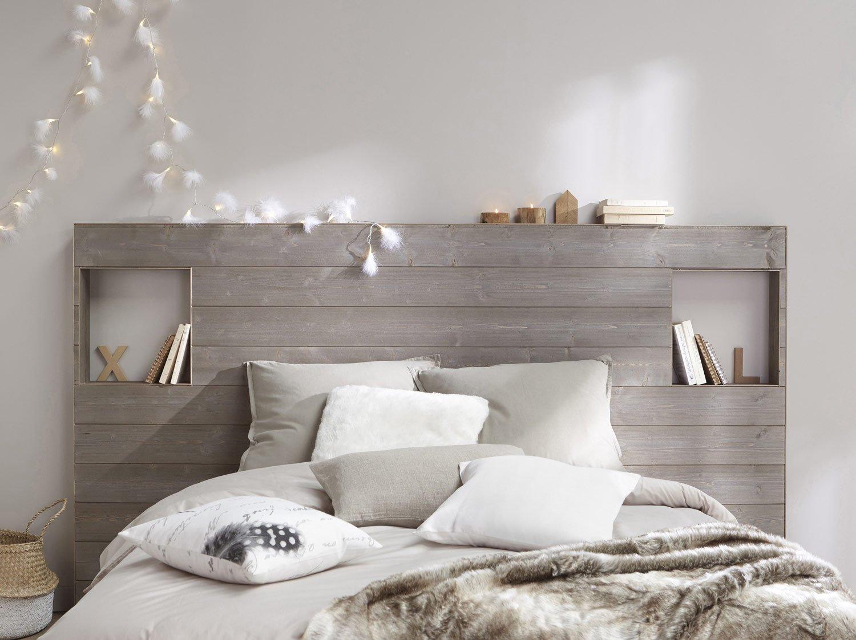 Серая кровать с полкой