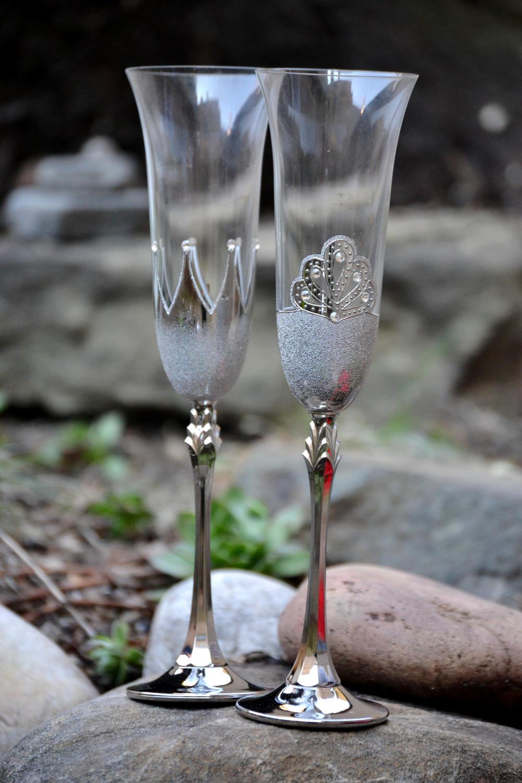 Свадебные бокалы серебряные