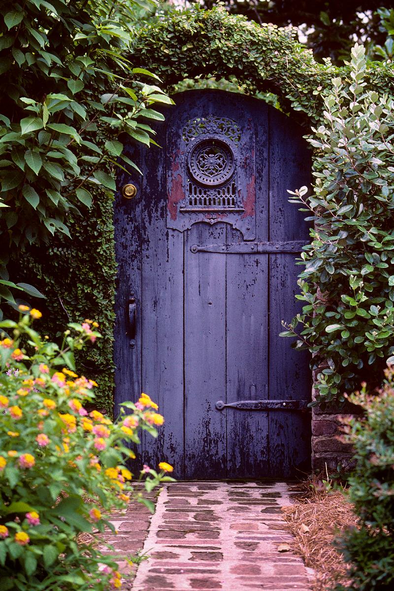 Синие ворота для дачи
