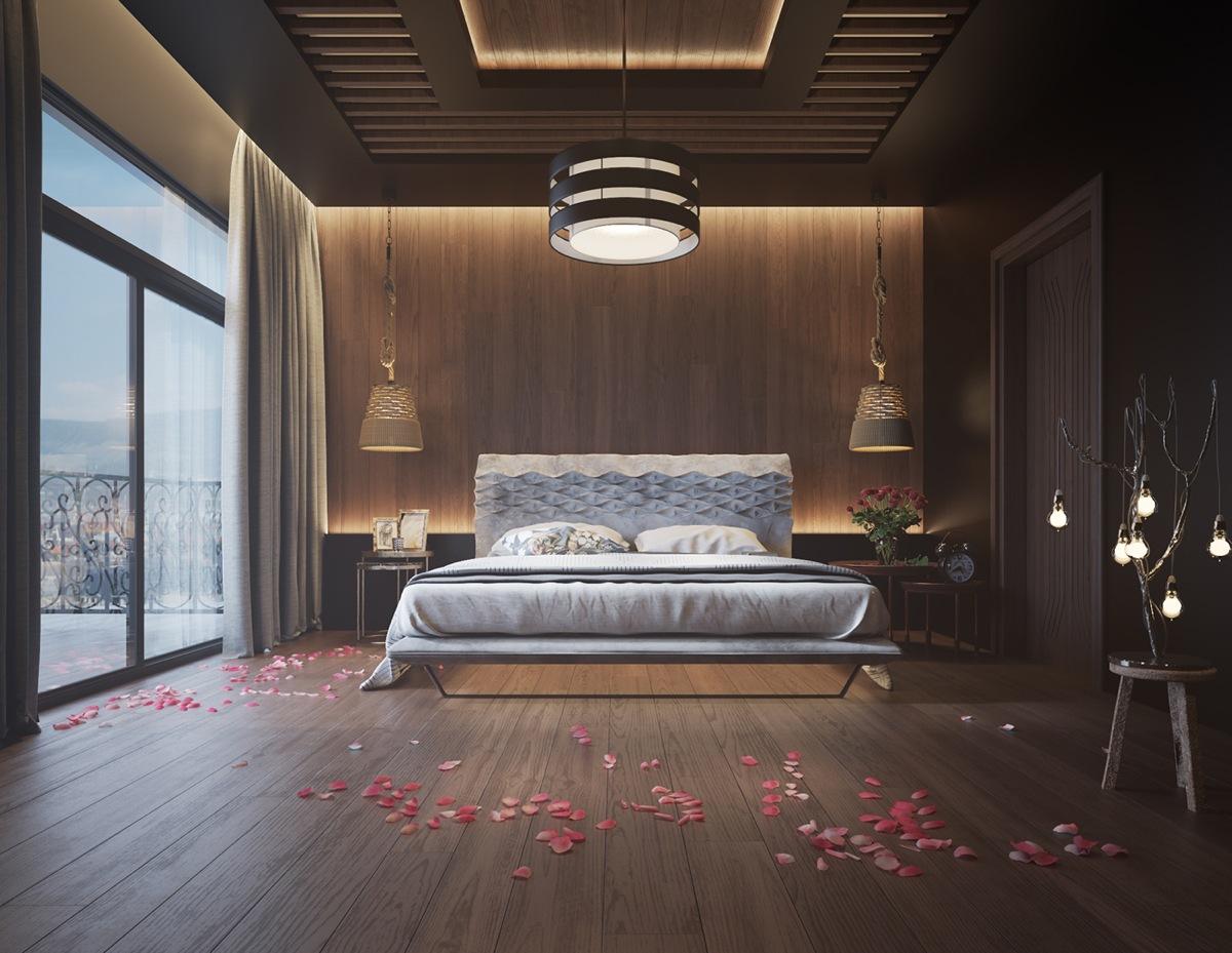 Шпонированные панели в спальне