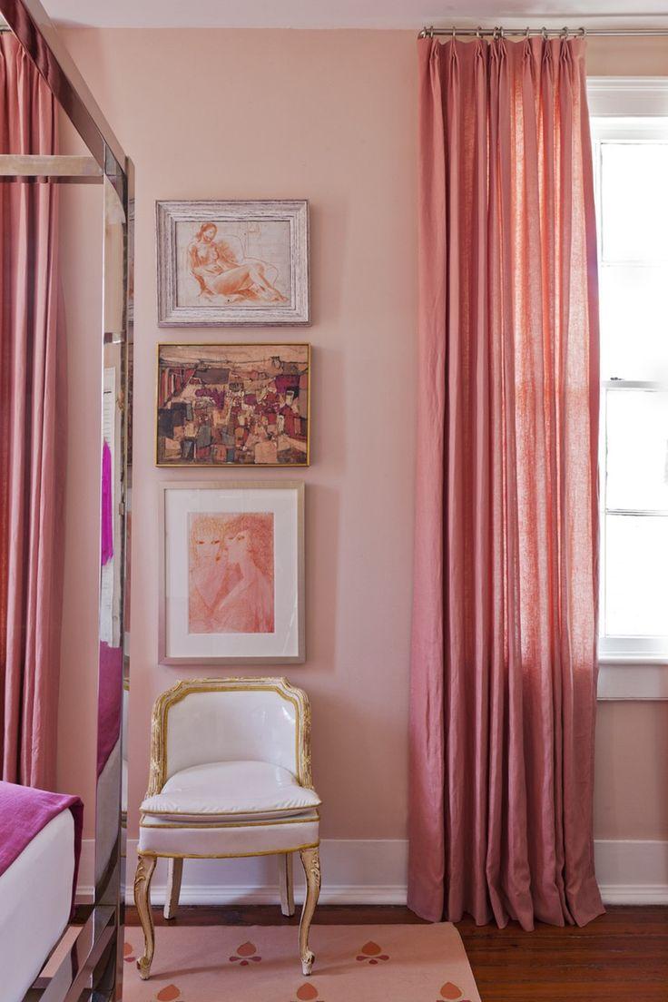 Персиковые шторы в спальне