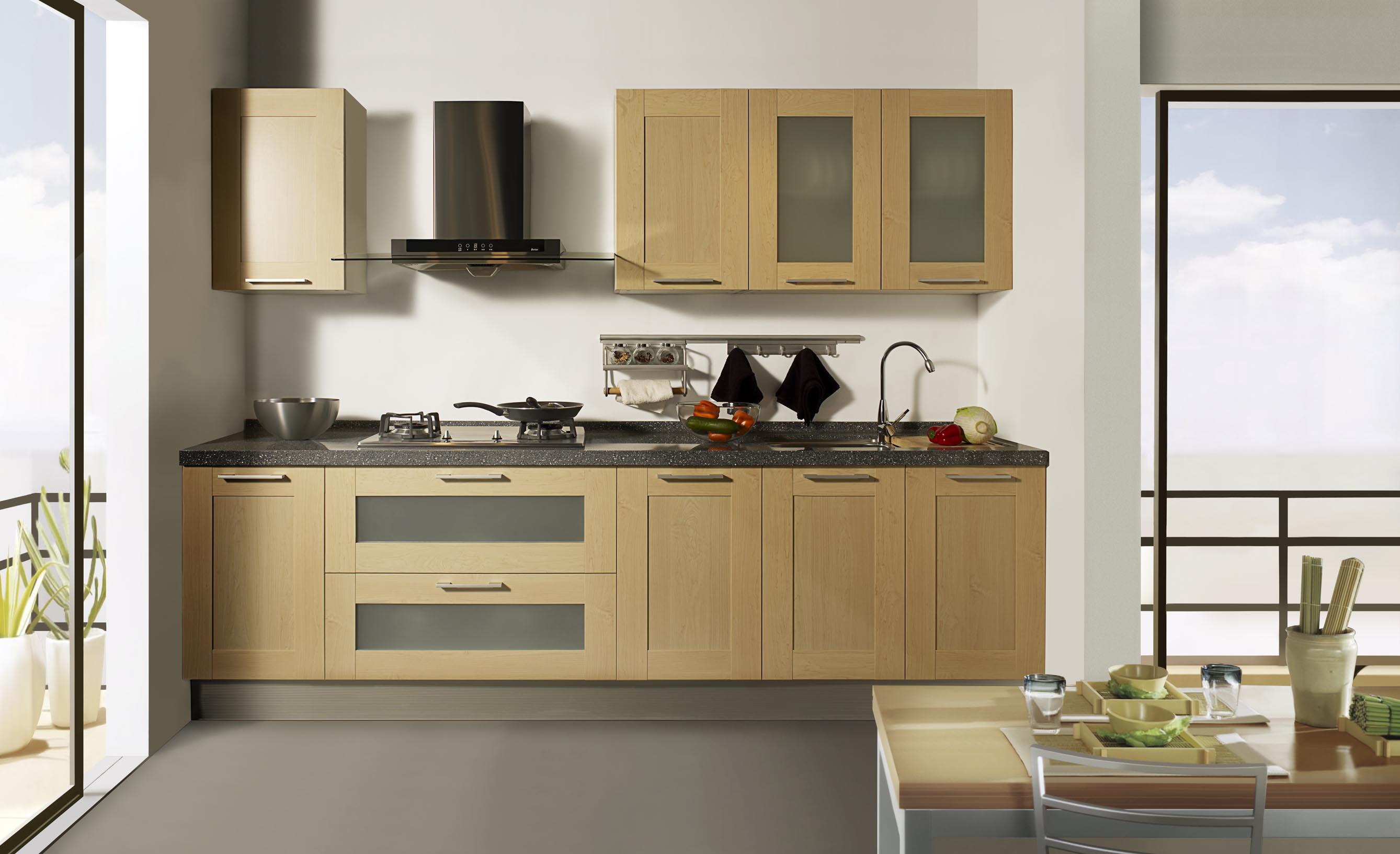 Кухня со стеклянными шкафчиками