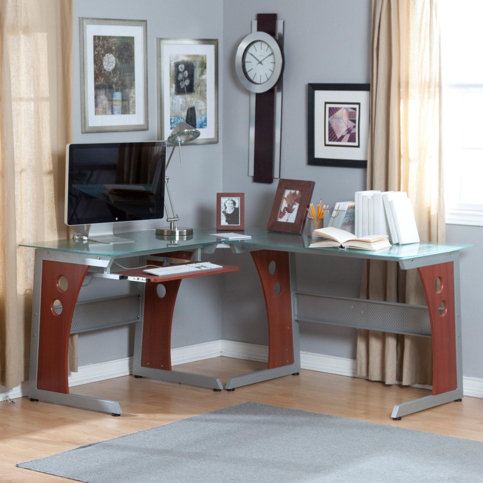Угловой стеклянный стол