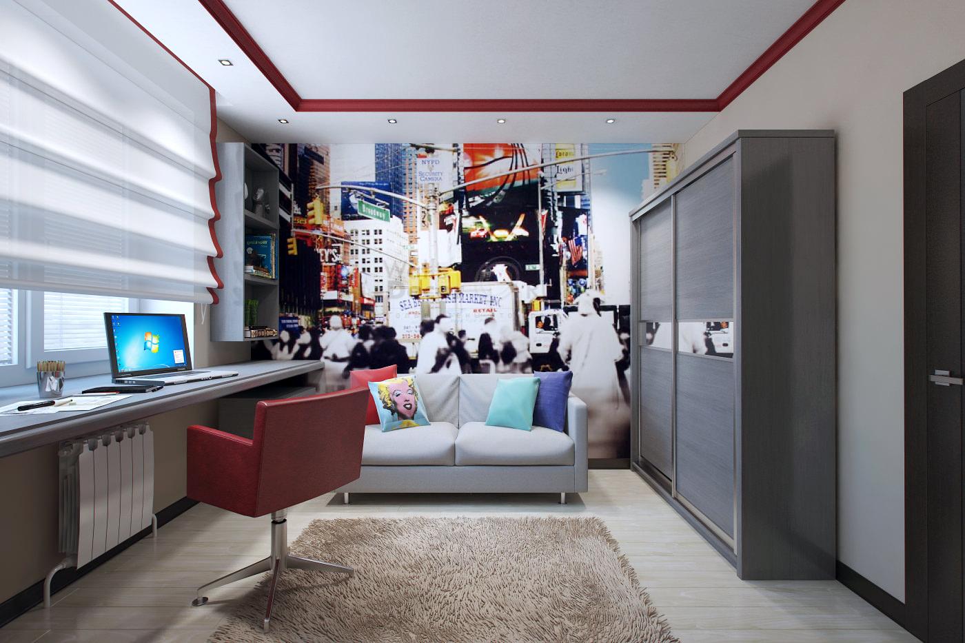 Фотообои на стене в комнате подростка