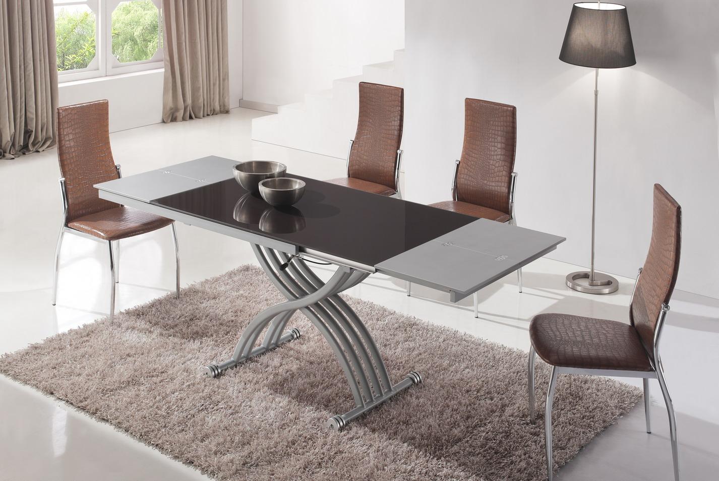 Стол трансформер со стеклянной столешницей