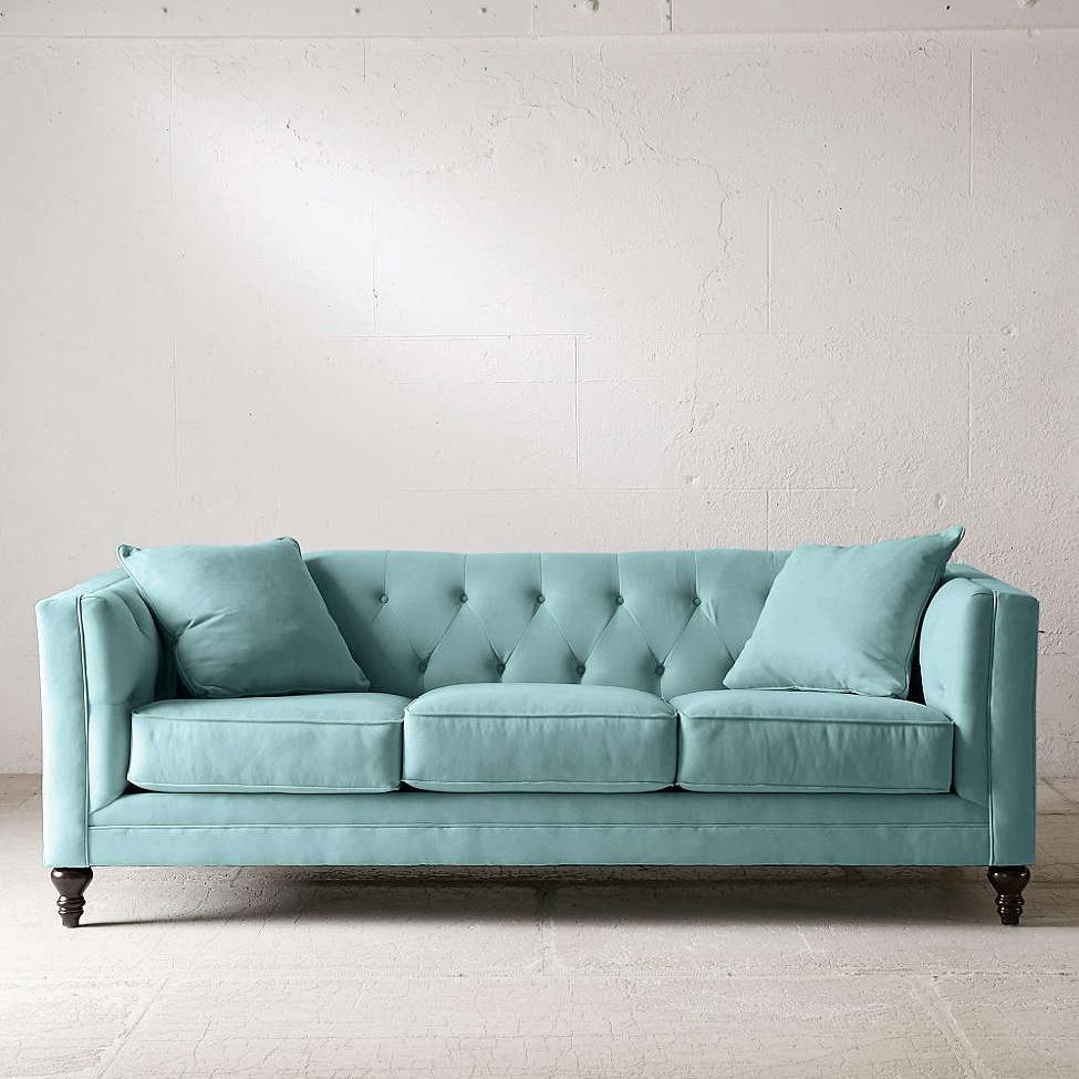 Бирюзовый трехместный диван
