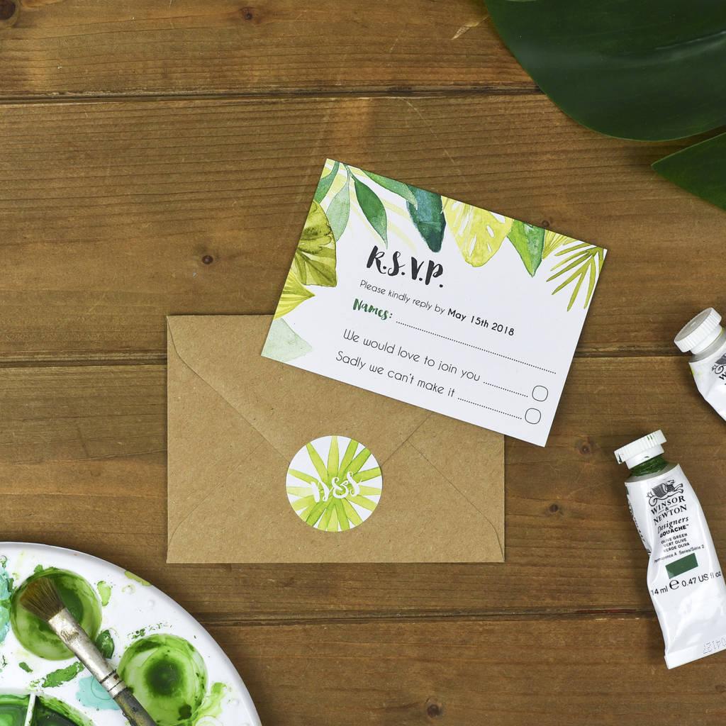 Приглашение на свадьбу в тропическом стиле