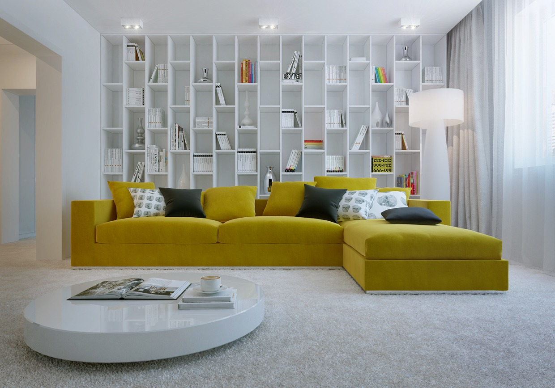 Желтый угловой диван