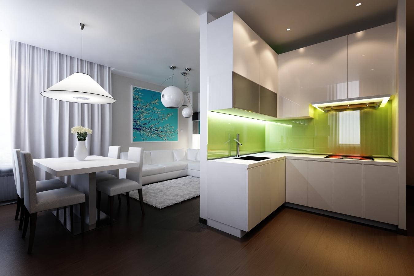 Белая глянцевая угловая кухня