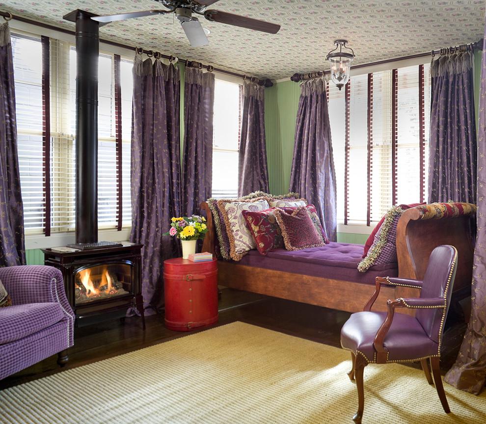 Сиреневые шторы с узором