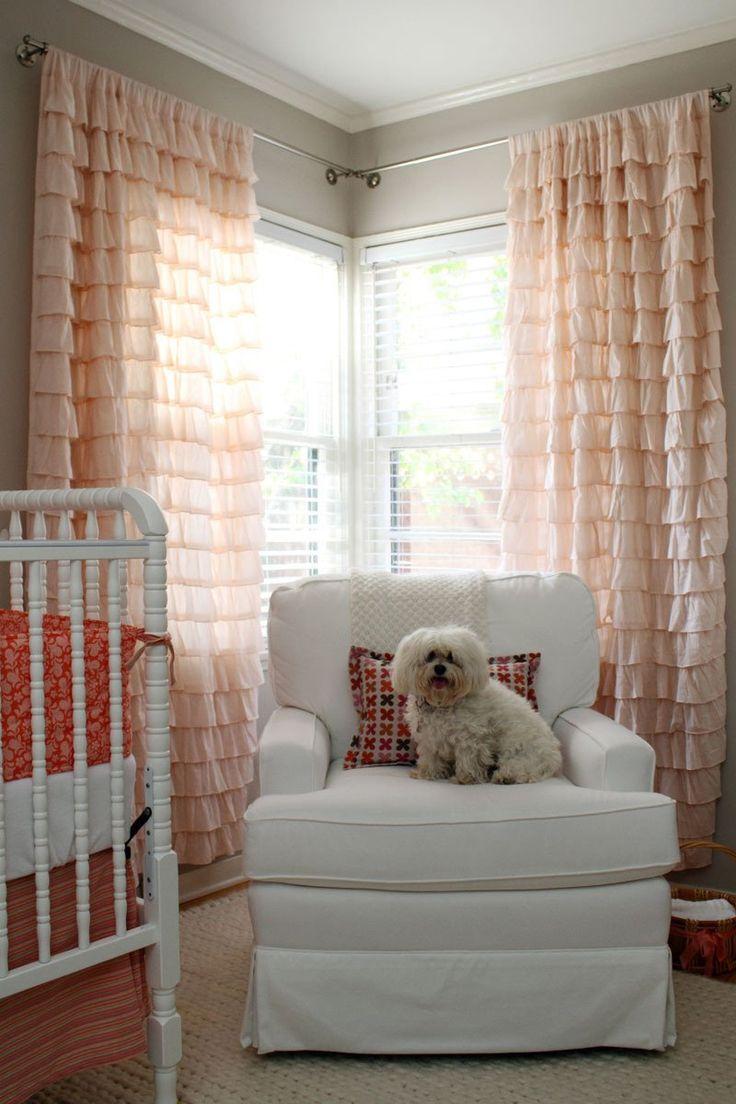 Персиковые шторы с воланами