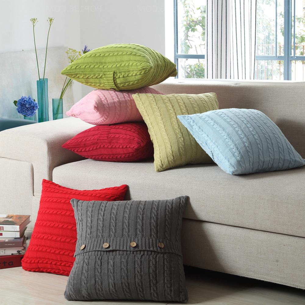 Вязанные диванные подушки