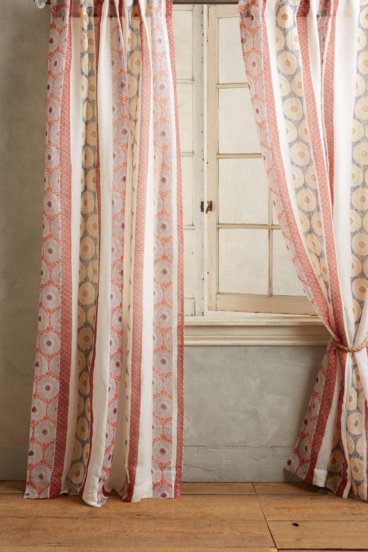 Персиковые шторы с вышивкой